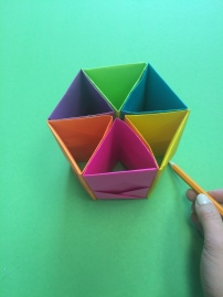 14. Next, simply trace the hexagon shape of the pen holder to create a base.